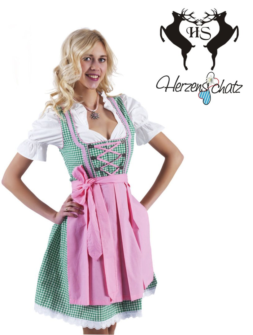 herzensschatz dirndl m nchen gr n rosa 3tlg dirndl. Black Bedroom Furniture Sets. Home Design Ideas
