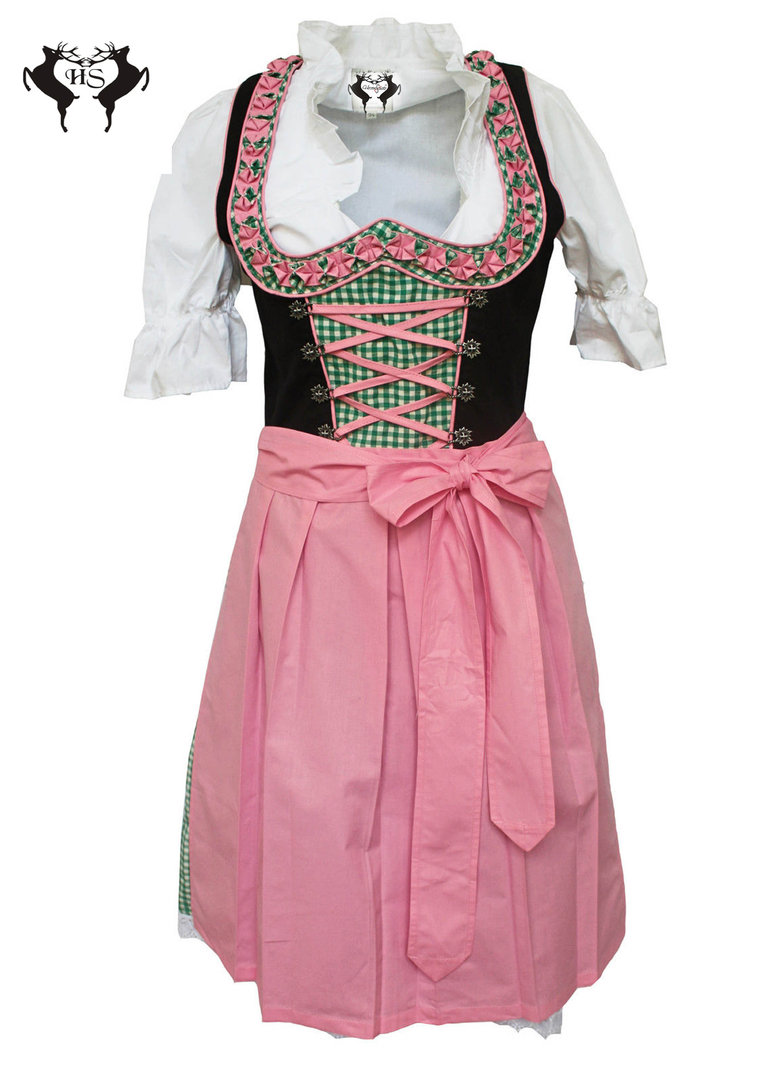 herzensschatz dirndl bavaria rosa gr n 3tlg dirndl. Black Bedroom Furniture Sets. Home Design Ideas